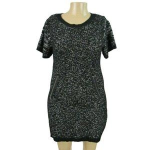 Extra Touch Black & White Short Sweater Dress